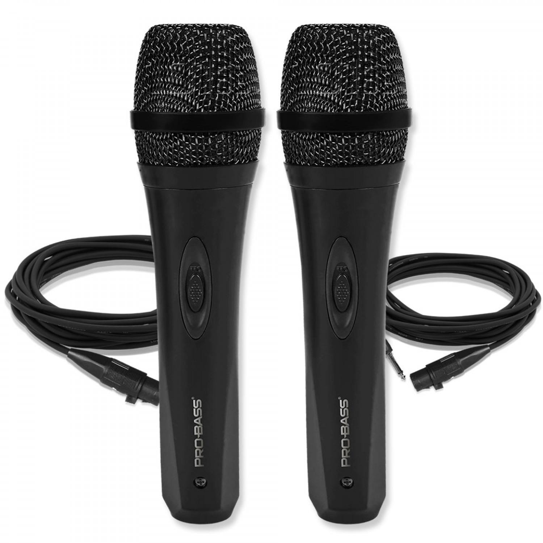 2 Dois Microfones de mão com fio Pro Bass Pro Mic 500