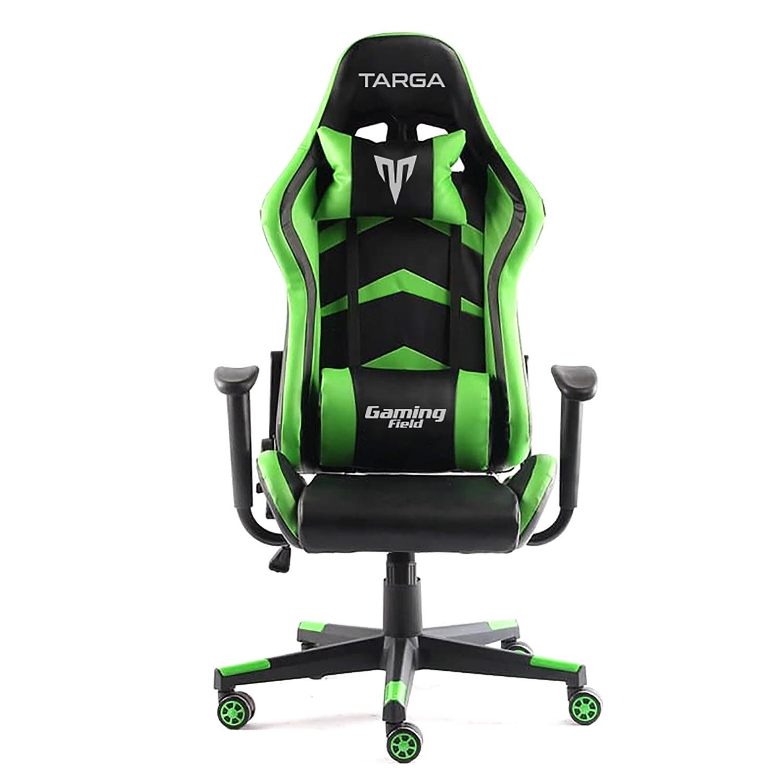 Cadeira Gamer Targa Hero Pro, Preta e Verde - Com Almofadas, Reclinável, Descanso de Braço