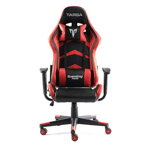 Cadeira Gamer Targa Hero Pro, Preta e Vermelha - Com Almofadas, Reclinável, Descanso de Braço