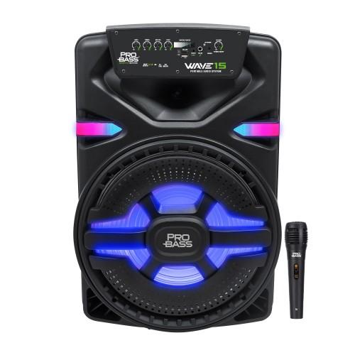 Caixa de Som Ativa com Bateria e Bluetooth Pro Bass Wave 15