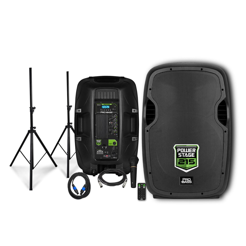 Kit Caixa Ativa + Passiva de 15 Pro Bass Power Stage 215 + Tripé + Microfone + Cabos