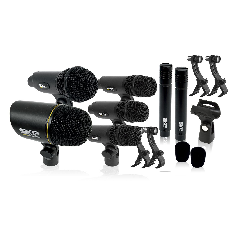 Kit de Microfone Condensador p/ Bateria 7 Peças SKP DMS7-II