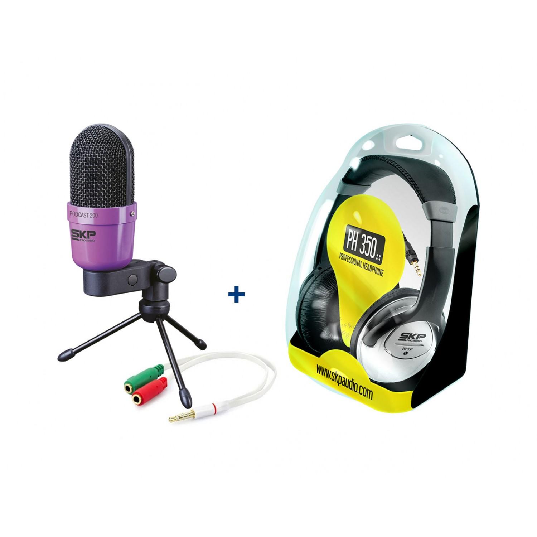 Kit Home Office Streaming com Microfone e Fone de Ouvido