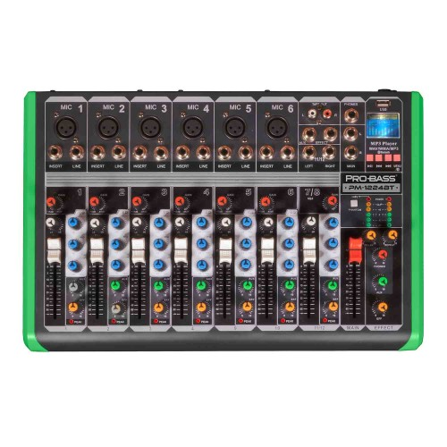 Mesa Mixer 8 Canais Pro Bass Ultra Slim PM 1224 Bluetooth