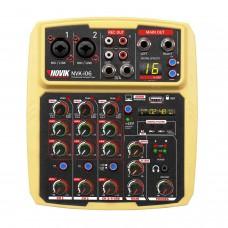 Mesa de Som 6 Canais com Interface USB Novik NVK I06 BT Amarela