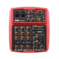 Mesa de Som 6 Canais com Interface USB Novik NVK I06 BT Vermelha