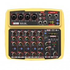 Mesa de Som 8 Canais com Interface USB Novik NVK I08 BT Amarela