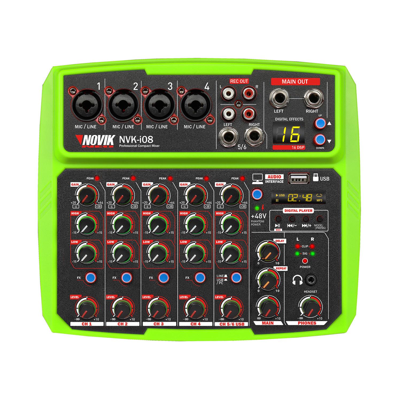Mesa de Som 8 Canais com Interface USB Novik NVK I08 BT Verde