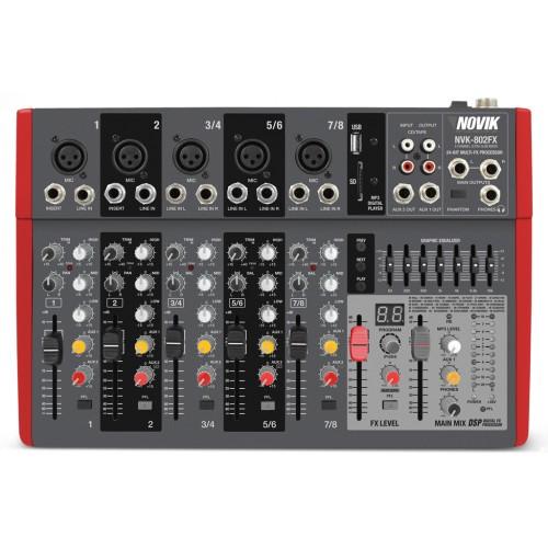 Mesa Mixer 8 Canais Novik Neo NVK 802 BT 110V Bluetooth
