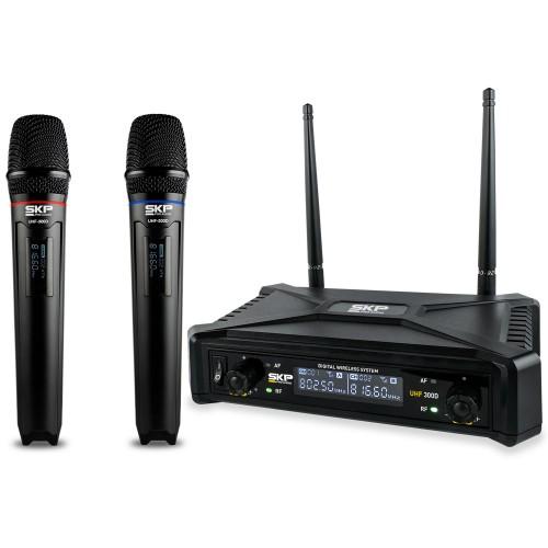 Microfone Sem Fio com Transmissão Digital SKP UHF 300 D