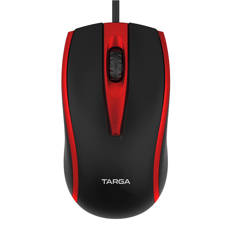 Mouse Óptico USB com Fio 1200 DPI Targa M50 Vermelho