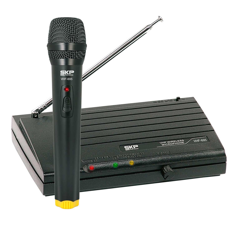 Sistema de microfone sem fio de Mão SKP VHF 695