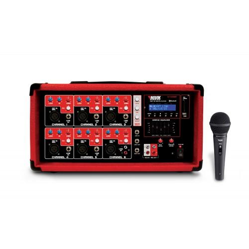 Mesa de som amplificada 6 Canais Novik Neo NVK 6400 BT Microfone Grátis