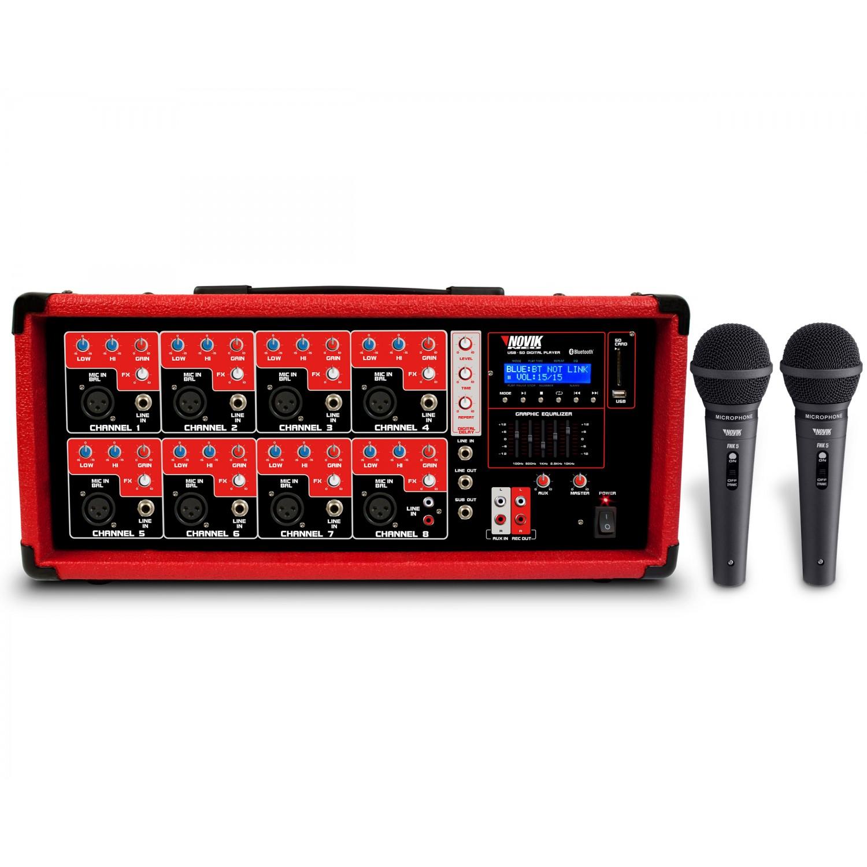 Mesa de som amplificada 8 Canais Novik Neo NVK 8500BT + 2 Microfones Grátis
