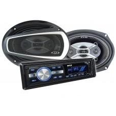 Kit Alto Falantes 6x9 pol + Radio MP3 Player B52 ELK 269