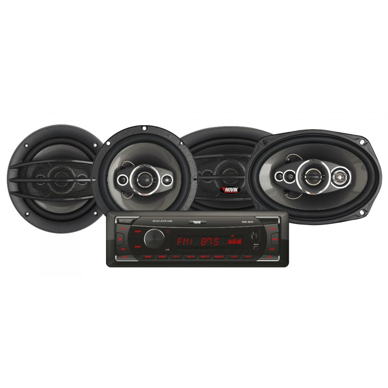 Kit Radio Automotivo com MP3 USB + 2 Alto Falantes de 6 NVK 314 Novik Neo
