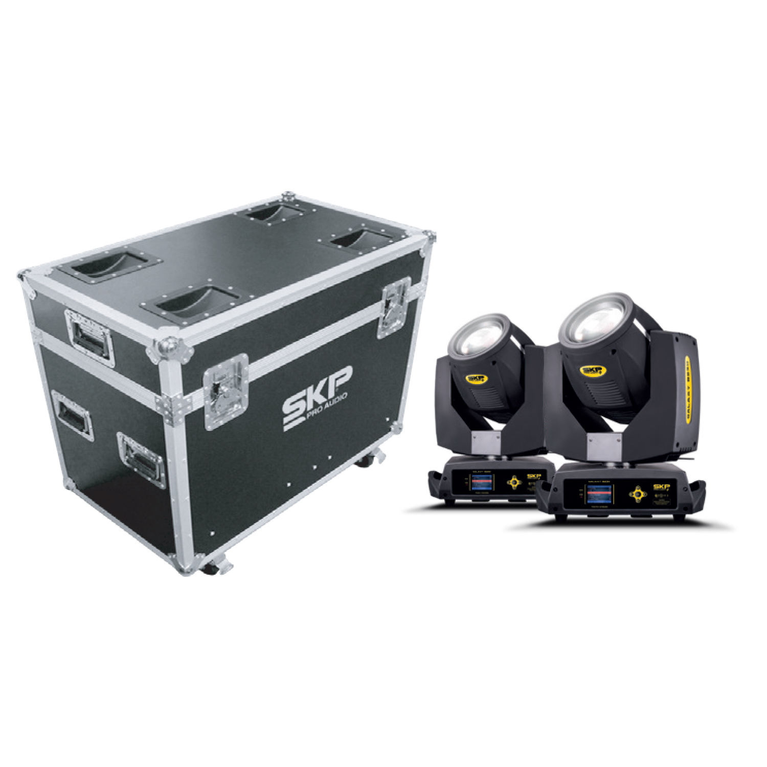 Kit Moving Head Beam e Wash 200W 5R + Fly Case SKP Pro Light