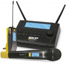 Kit de Microfone sem fio com Transmissor + Receptor  SKP MULTISET III