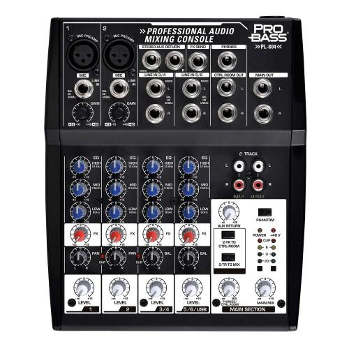 Mesa de som Analógica 8 entradas PL 804 - Pro Bass