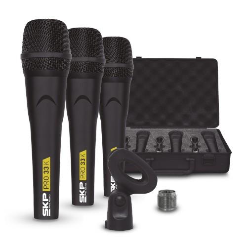 Conjunto com 3 Microfones Profissionais SKP Pro 33K