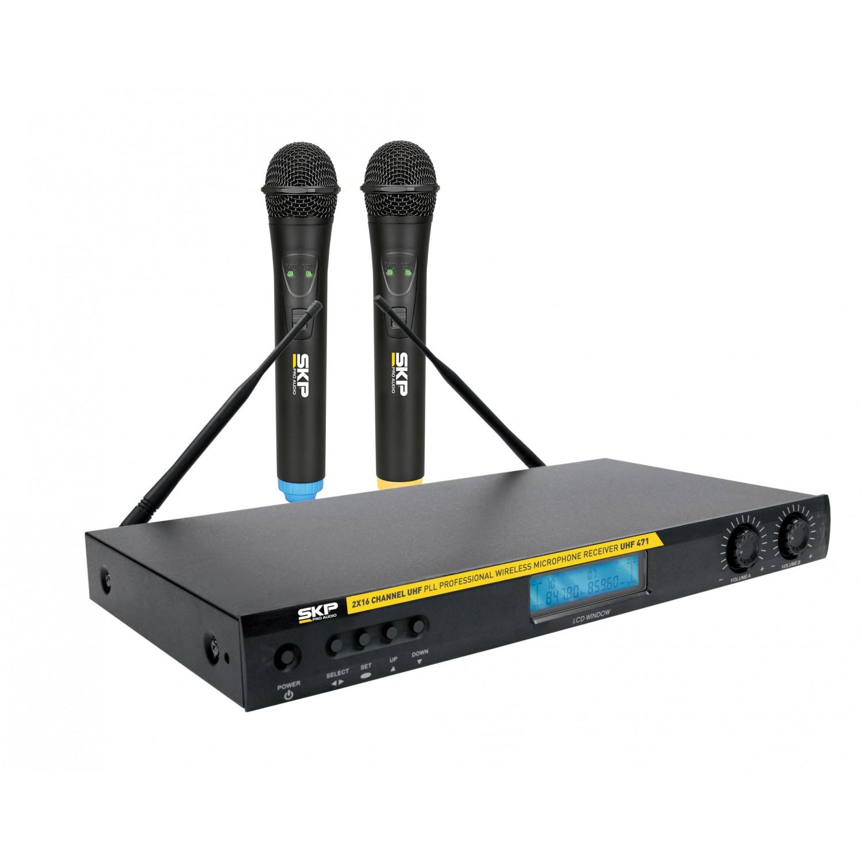 Microfone sem Fio com duplo Transmissor UHF SKP UHF 471
