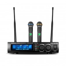 Microfone Sem Fio Duplo UHF Wireless Pro Bass UF 112