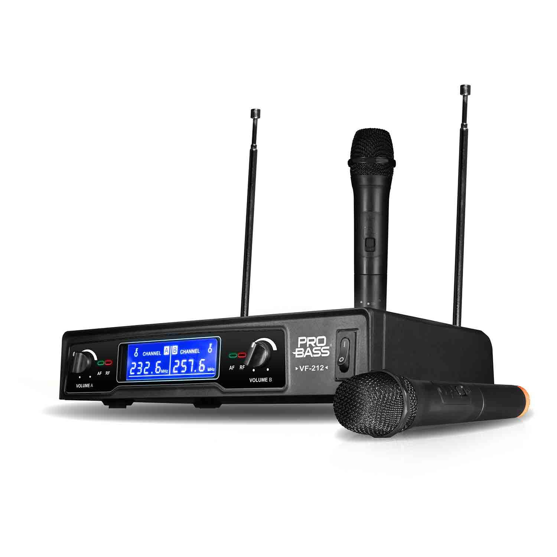 Microfone Sem Fio Wireless Duplo Pro Bass VF 212 VHF